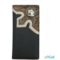 Wallet Western Genuine Hand Tooled Leather Long Bi-Fold Check Book Cowboy Wallet