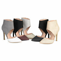 Brinley Co Womens Faux Suede Faux Leather Ankle Cuff Two tone High Heels New