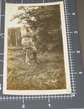 New listing 1920's Boy Military School Cadet Usa Flag Confident Pose Vintage Snapshot Photo