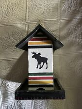 Outside/Inside Wooden Bird House Rustic Moose - New, Tags On, No Box