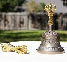 "Buddhist Brass Bell with Circle Design with Dorje 6"" x 3.5"""
