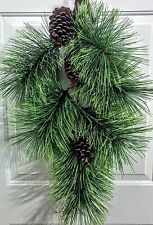 "NWT 34"" Tall Teardrop for Door or Wall - Artificial Pine with Real Pine Cones"
