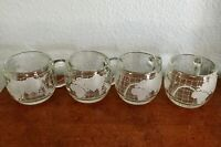 Nestle 1970's Clear Etched Glass World Map Globe Coffee Cup Mugs Lot of 4