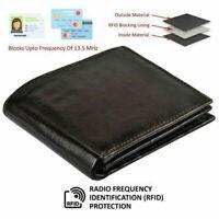 100% Genuine Leather Bifold Mens Wallet Middle ID Window Black RFID Blocking USA