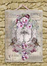Shabby Chic Placca Muro Art Print Decor CHERUBINI ROSE 28 x 40 (A3)