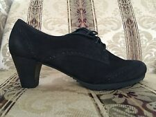 Gabor Heeled Oxford Nubuck Shoes, US Size 9.5, UK Size 7