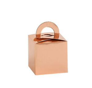 50 ROSE GOLD BALLOON WEIGHT OR GIFT FAVOUR BOXES 65 x 65 x 65mm SQUARE HANDLE