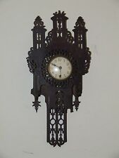 Antique 19th C. Working Victorian Gothic Fretwork Cathedral Style Wall Clock