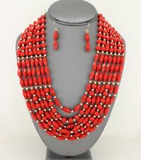 Seven Layers Red Faceted Lucite Bead Gold Tone Bead Necklace Earring Set