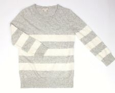 J Crew ladies jumper 28% merino wool XS grey White Sequins Christmas sweater T1