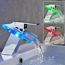 Kitchen Bathroom Sink Bath Changing Led Colour Glass Waterfall Faucet Mixer Tap