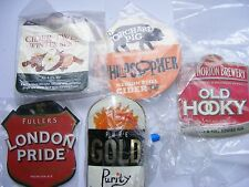 Beer Clips X 5 FULLERS, PURE GOLD, WESTONS,ORCHARD PIG, HOOK NORTON