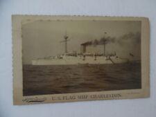 c.1895 USS CHARLESTON C-2 Boudoir Card Photo Flagship Asiatic Pacific Squadron
