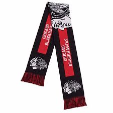 Chicago Blackhawks Scarf Knit Winter Neck - Double Side Big Team Logo New 2016