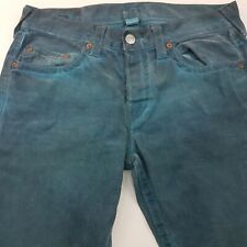 True Religion GENO Mens Vintage Jeans W34 L32 Green Regular Straight High Rise