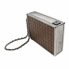 CHANEL CIGARETTE CLUTCH MINAUDIE BOX BROWN LEATHER CASE SILVER CHAIN WRISTLET CC