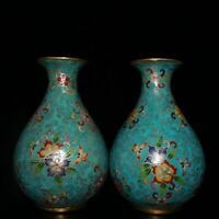 China Cloisonne Enamel Bronze Wire Inlay Twisted Branches Flower Butterfly Vase