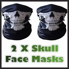 2 X Full Function Skull Face Mask Skeleton Motorcycle Biker Scarf Snood Bandana