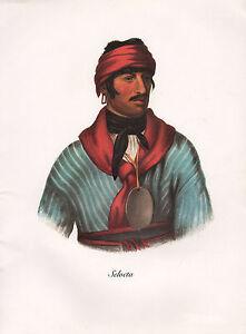 VINTAGE PRINT of 1830's NATIVE AMERICAN INDIAN ~ SELOCTA ~ CREEK