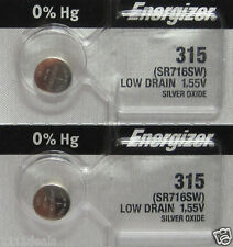 2 Pcs Energizer Silver Oxide 315 SR716SW SR716W Batteries