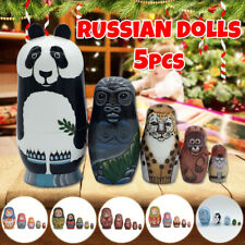 5pcs Set Cute Russian Dolls Wooden Handmade Crafts Doll Decoration Toys For Kids