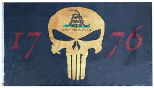 Black Gadsden Demon Skull 1776 Premium 100D Woven Poly Nylon 3'x5' Flag Banner
