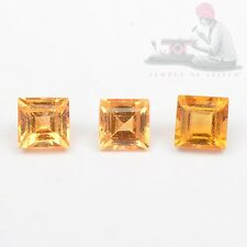 Natural Citrine 2mm Square Faceted Cut 5 Pieces Top Quality Loose Gemstone