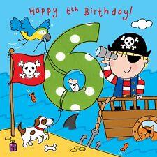 6 Year Old Card -Age 6 Card -6th Birthday Card For Boy -Boy Age 6 Card -Pirate