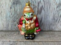 Blown Glass Fly Fisherman FROG Christmas Ornament, 5.5 Inches