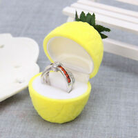 Delicate Cute Velvet Yellow Flocked Earring Holder Container Pineapple Ring Box~