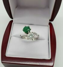585 Weißgold Ring mit Diamant/Brillant Smaragd  2,1ct.