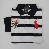 NWT Ralph Lauren Boys SS Big Pony Navy Striped Mesh Polo Shirt Sz 8 Small NEW