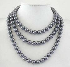"""Perfect round 10mm AAA + South Sea dark gray shell pearl necklace 54"""""""