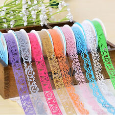 5Pcs/lot Roll DIY Washi Hollow Lace Decorative Sticky Paper Masking Tape(Random)