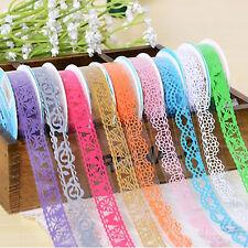 5Pcs/lot Roll DIY Washi Hollow Lace Decorative Sticky Paper Masking Tape(Random)