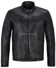 Mens Leather Jacket Black 100% Lambskin Shoulder Patern Fashion Biker Style 1418