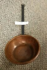 """VINTAGE HEAVY COPPER IRON HANDLE LADLE WATER DIPPING BOWL SPOON 17"""""""