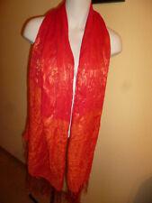 Schal Schultertuch Stola aus Ägypten  rot /orange Goldfaden Fransen  180 x 62 cm