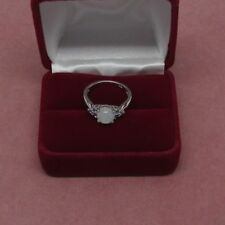 Sterling Silver Rainbow Moonstone ring cz accents Size 7   925 Sterling