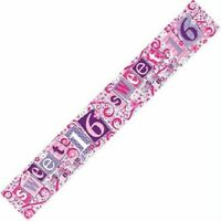 9ft Sweet 16 16th Themed Happy Birthday Banner - Party Girls Children Decoration