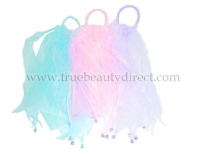 CHOOSE A COLOUR 3 x HAIRBANDS WITH RIBBONS RHINESTONES & FLOWER PINK BLUE PURPLE