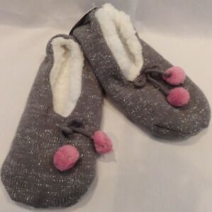 Plush Pom Pom Slipper Socks with Grippers Size S/M or M/L Gray or Black U Choose