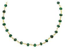 Green Emerald Necklace Beaded Chain 14k Gold Filled 4mm Faceted 18 19 Inch