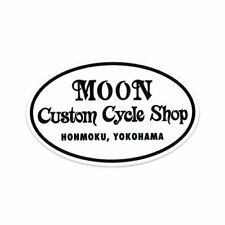 MOON Custom Cycle Shop Oval Sticker Harley Honda Suzuki Enfield Bopper Chopper