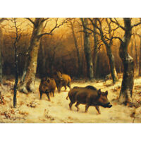 Bonheur Wild Boars Winter Snow Painting Canvas Art Print Poster