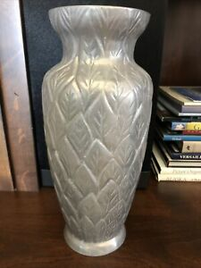 Pottery Barn Heavy Metal Silver Grey Decorative Tall Vase Leaves Design