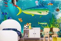 3D Watercolor Shark Seabed Wallpaper Wall Mural Removable Self-adhesive Sticker