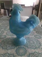 """8"""" Blue & White Milk Glass Portieux Standing Rooster Chicken Candy Dish"""
