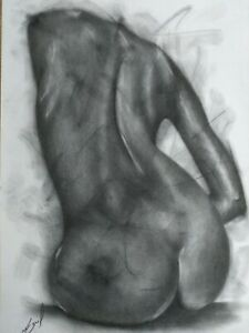 Nude Female Pencil Drawing Original Signed Picture Art Bodyscape