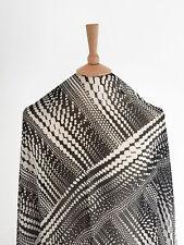 Gradient Black White Spotted Stripe Effect Print Chiffon Dressmaking Fabric